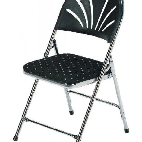 Gestoffeerde klapstoel stoel chroom zwart